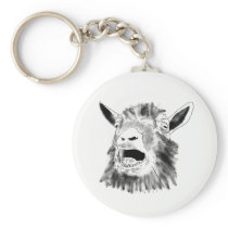 Funny Screaming Goat Drawing Quirky Animal Art Keychain
