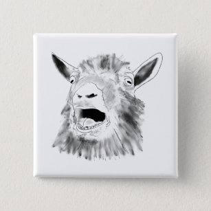 Funny Screaming Goat Drawing Quirky Animal Art Pinback Button