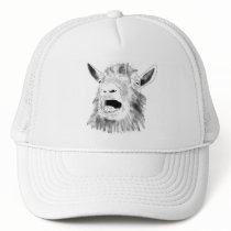 Funny Screaming Goat Drawing Quirky Animal Art Trucker Hat