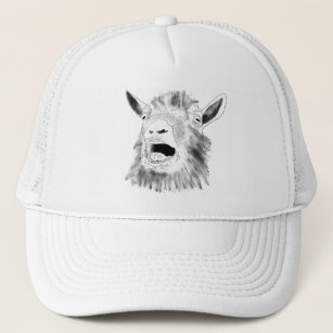 873207a439263 Funny Screaming Goat Drawing Quirky Animal Art Trucker Hat