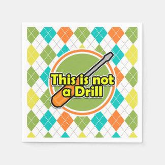 Funny Screwdriver; Colorful Argyle Pattern Paper Napkin