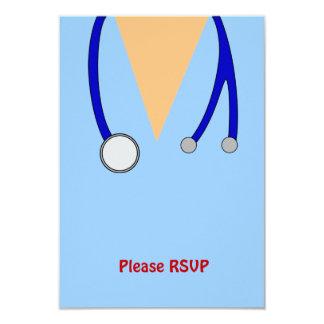 Funny Scrubs Nurses Whimsical Design 3.5x5 Paper Invitation Card