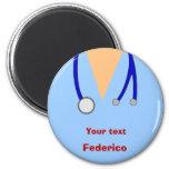 Funny Scrubs Nurses Whimsical Design 2 Inch Round Magnet