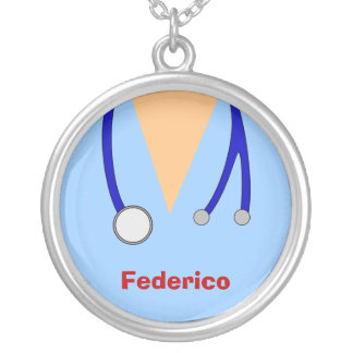 Funny Scrubs Nurses Whimsical Design Round Pendant Necklace