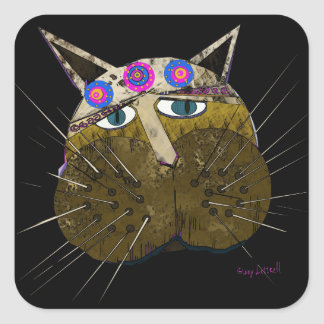 Funny Scruffy Cat gifts and Greetings Square Sticker