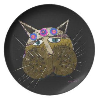 Funny Scruffy Cat Plate
