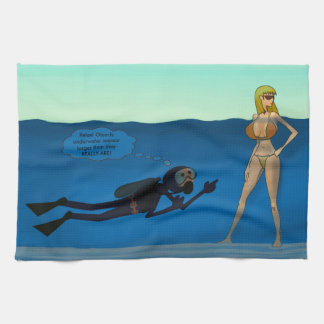 FUNNY SCUBA DIVER UNDERWATER GIRL, DIVING GIFT HAND TOWEL