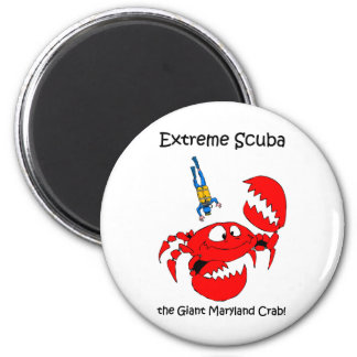 Funny scuba diving 2 inch round magnet