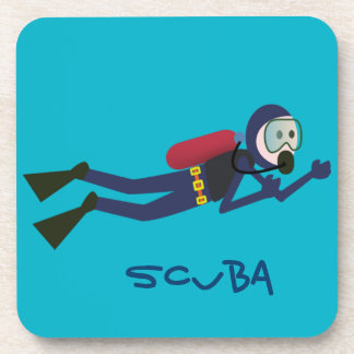 FUNNY SCUBA DIVING DIVER, TANK AND MASK SCUBA BEVERAGE COASTER