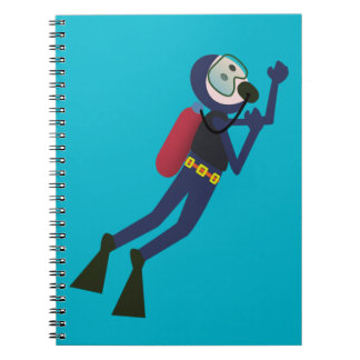 FUNNY SCUBA DIVING DIVER, TANK AND MASK SCUBA GEAR SPIRAL NOTEBOOKS