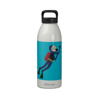 FUNNY SCUBA DIVING DIVER, TANK AND MASK SCUBA GEAR WATER BOTTLES