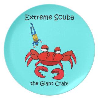 funny scuba diving melamine plate