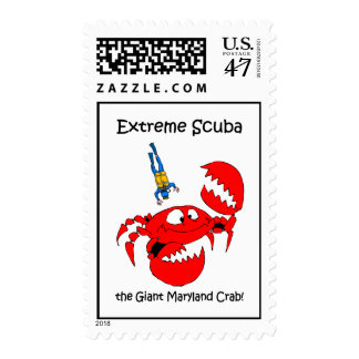 Funny scuba diving postage