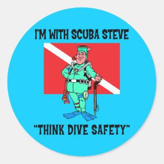 Funny SCUBA Steve Classic Round Sticker