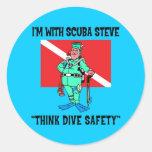 Funny SCUBA Steve Round Stickers