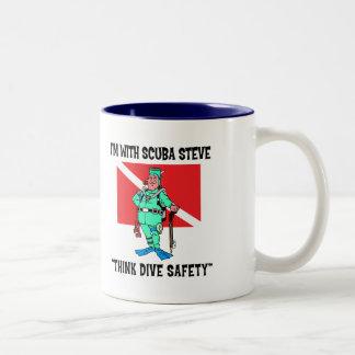 Funny SCUBA Steve Two-Tone Coffee Mug