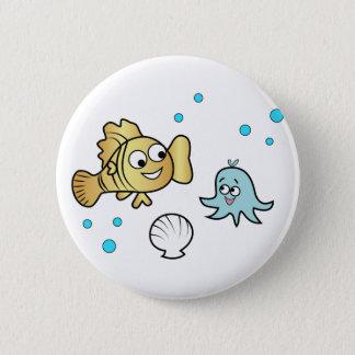 Funny sea animals pinback button