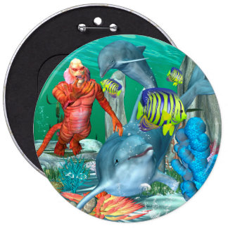 Funny sea life with dolphin 6 inch round button