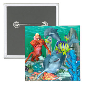 Funny sea life with dolphin 2 inch square button