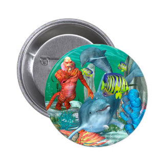 Funny sea life with dolphin 2 inch round button