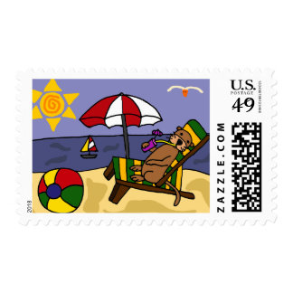 Funny Sea Otter at the Beach Cartoon Postage