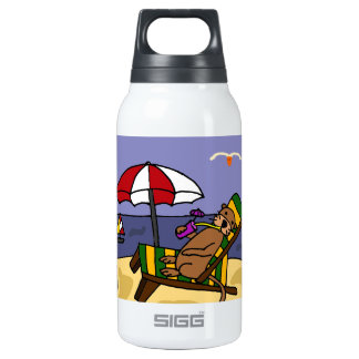 Funny Sea Otter at the Beach Insulated Water Bottle