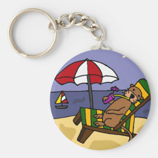 Funny Sea Otter at the Beach Key Chain