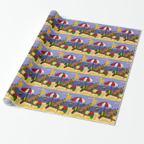 Funny Sea Otter at the Beach Wrapping Paper