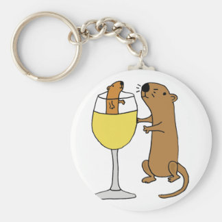 Funny Sea Otter Drinking White Wine Keychain
