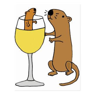 Funny Sea Otter Drinking White Wine Postcard
