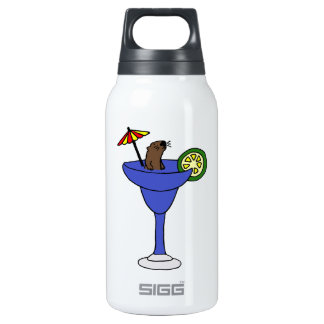 Funny Sea Otter in Blue Margarita Drink Insulated Water Bottle