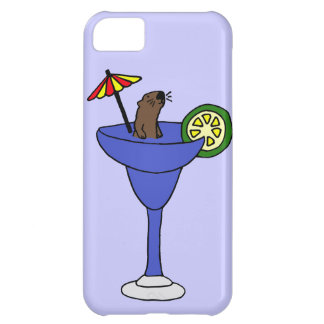 Funny Sea Otter in Blue Margarita Drink iPhone 5C Case