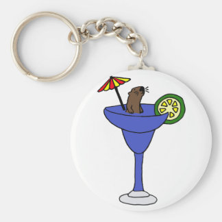 Funny Sea Otter in Blue Margarita Drink Keychains