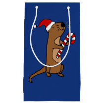 Funny Sea Otter in Santa Hat Christmas Gift Bag
