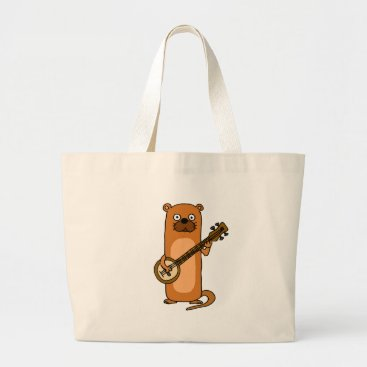 Beach Themed Funny Sea Otter Playing Banjo Cartoon Large Tote Bag