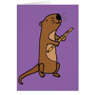 Beach Themed Funny Sea Otter Playing Flute Art Card