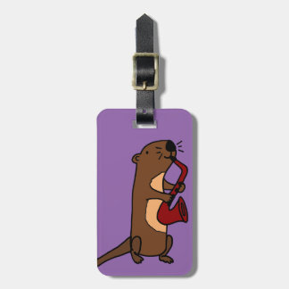 Funny Sea Otter Playing Saxophone Bag Tag
