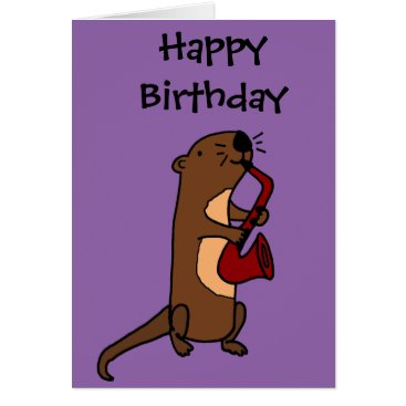 Beach Themed Funny Sea Otter Playing Saxophone Card