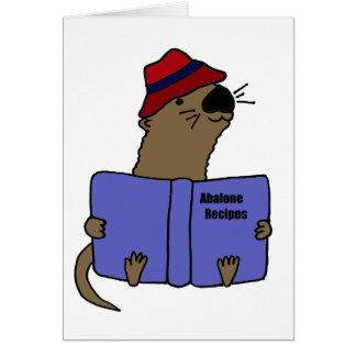 Funny Sea otter Reading Abalone Recipe Book Card