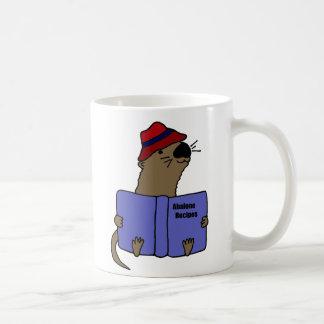 Funny Sea otter Reading Abalone Recipe Book Coffee Mug