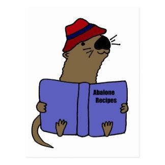 Funny Sea otter Reading Abalone Recipe Book Postcard