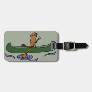 Funny Sea Otter Rowing in Canoe Bag Tag
