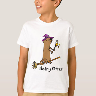 Funny Sea Otter Wizard Cartoon T-Shirt