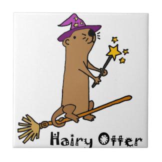 Funny Sea Otter Wizard Cartoon Tile