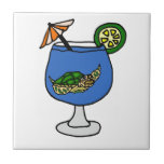 Funny Sea Turtle in Margarita Drink Ceramic Tile