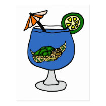 Funny Sea Turtle in Margarita Drink Postcard