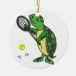 Funny Sea Turtle Playing Tennis Cartoon Ceramic Ornament