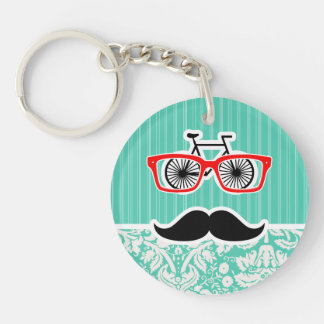 Funny Seafoam Green Damask Double-Sided Round Acrylic Keychain