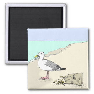 Funny Seagull on a Diet Refrigerator Magnet