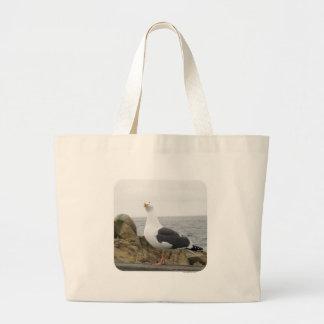 Funny Seagull Photo Large Tote Bag